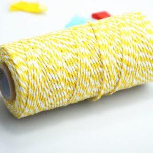 Двухцветный шпагат желто-белый, 1 ярд