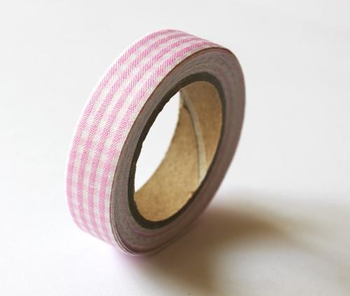 Тканевый скотч Розовая клетка