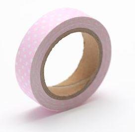 Тканевый скотч Розовый в горошек