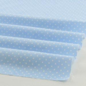 Ткань голубая в белый горошек, отрез 40х50 см