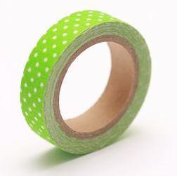 Тканевый скотч цвета Свежей зелени в горошек №49 15мм*4м
