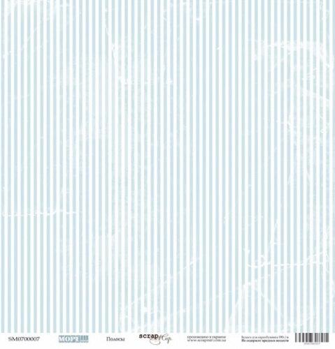 Лист односторонней бумаги 30x30 от Scrapmir Полосы из коллекции Море