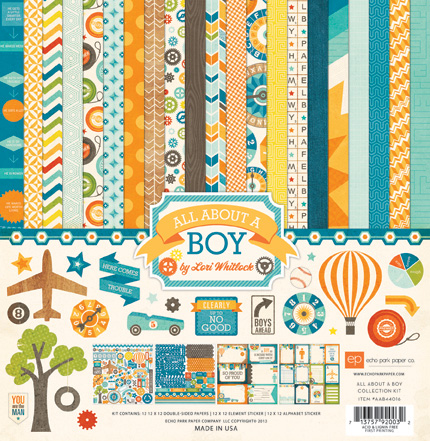 Набор бумаги 30х30 Echo Park Paper - All About A Boy Collection Kit