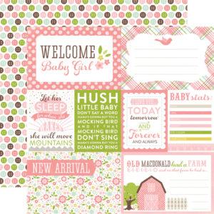 Лист бумаги для скрапбукинга Welcome Baby Girl - Echo Park Paper