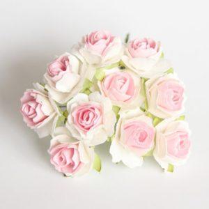 Розы кудрявые розово-белые 2 см