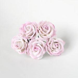 Роза с закругленными лепестками белый+розовый 4 см