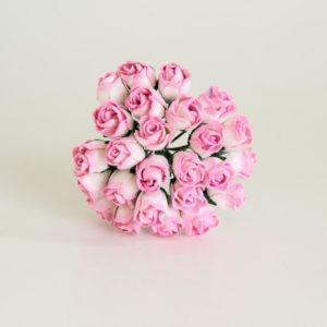 Мини бутон розы полураскрытый розовый+белый