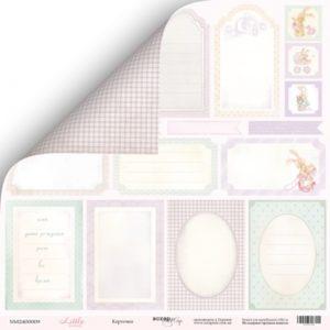 Лист двусторонней бумаги 30x30 от Scrapmir Карточки из коллекции Little Bunny 10шт