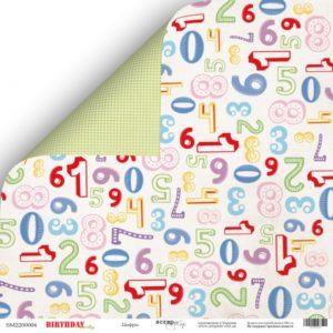 Лист двусторонней бумаги 30x30 от Scrapmir Цифры из коллекции Birthday Party