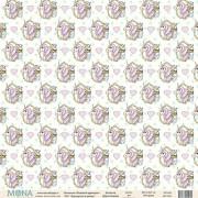 Лист бумаги для скрапбукинга  Розовый Единорог - Единороги в рамке