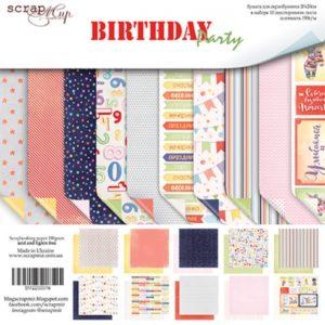 Набор двусторонней бумаги 20х20см от Scrapmir Birthday Party