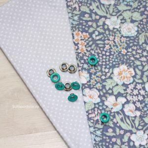 Набор люверсов для скрапбукинга 5 мм, 10 шт., сине-зеленые