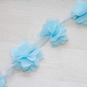 Голубой шифоновый цветок, 1 шт.