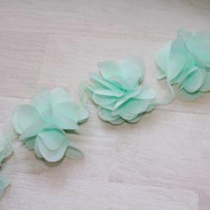 Светло-зеленый шифоновый цветок, 1 шт.
