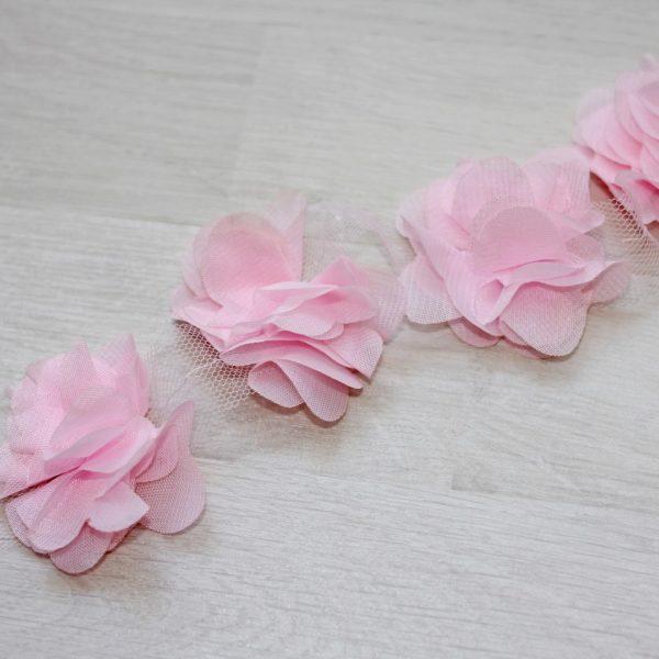 Светло-розовый шифоновый цветок, 1 шт.