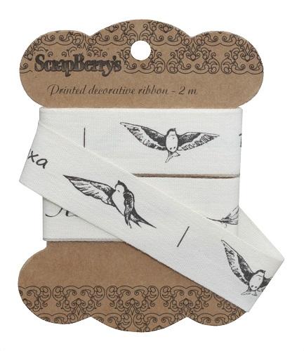 Лента отрезная Птицы с надписями, 20мм, 2м, хлопок