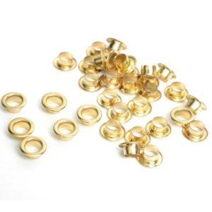Люверсы золотого цвета 5 мм 10 шт.