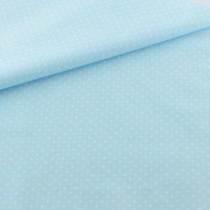Ткань светло-бирюзовая в горошек, отрез 40х50 см