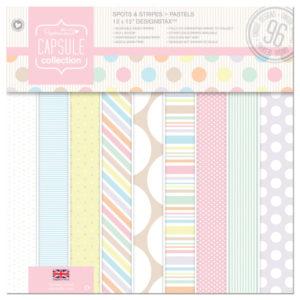 Набор двусторонней бумаги 30x30 см Papermania Spots & Stripes Pastels