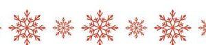 Бумажный скотч Снежинки красные 15мм*8м
