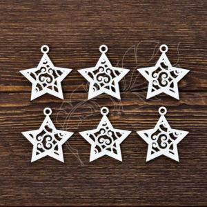 Чипборд Новогодние звёздочки (6 элем. 5х5 см - 1 эл.)