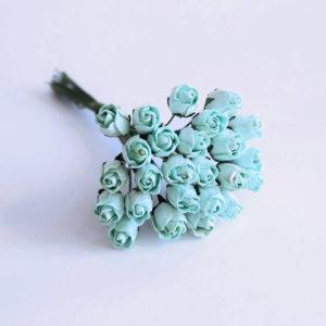 Мини бутон розы полураскрытый бирюзовый, 1 шт.