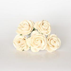 Молочная роза с закругленными лепестками 4 см, 1 шт.
