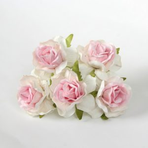 Роза кудрявая белый+розовый 4 см, 1 шт.