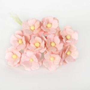 Цветы вишни средние розово-персиковые светлые, 10 шт.