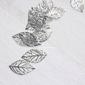 Металлический ажурный листочек цвет хром, 1 шт.