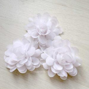 Большой шифоновый цветок белый, 1 шт.