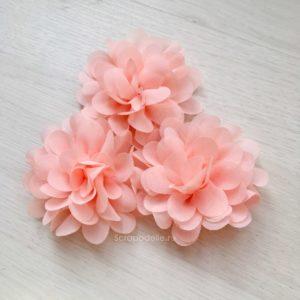 Большой шифоновый цветок персиковый, 1 шт.
