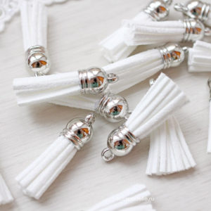 Декоративная кисточка серебряный+белый