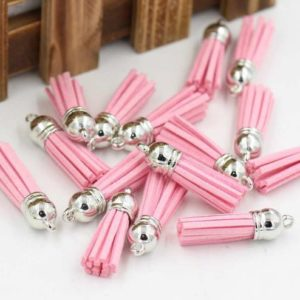Декоративная кисточка серебряный+розовый