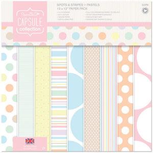 Набор односторонней бумаги 30x30 см Papermania Spots & Stripes Pastels