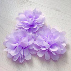 Большой шифоновый цветок сиреневый, 1 шт.