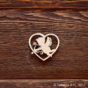 Чипборд Сердце с ангелочком, артикул CB707, бренд Art Lines