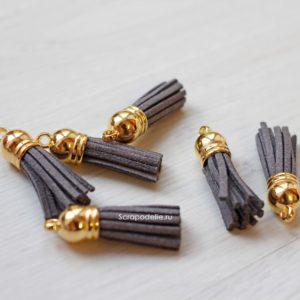 Декоративная кисточка золотой+серый
