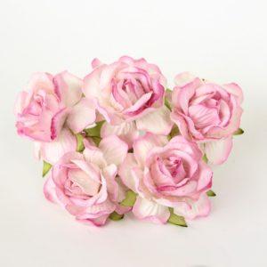 Роза кудрявая белый+розовые кончики 4 см