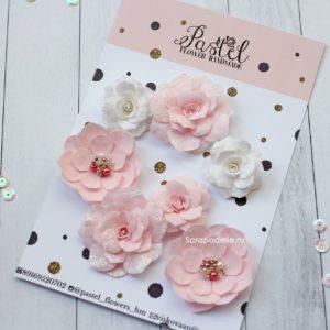 Цветы ручной работы из ткани розовые и белые