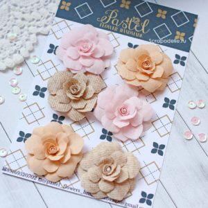 Цветы ручной работы из ткани розовые и бежевые