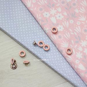 Набор люверсов для скрапбукинга розово-персиковые