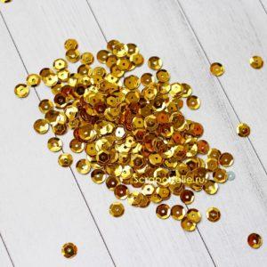 Пайетки граненые золотые