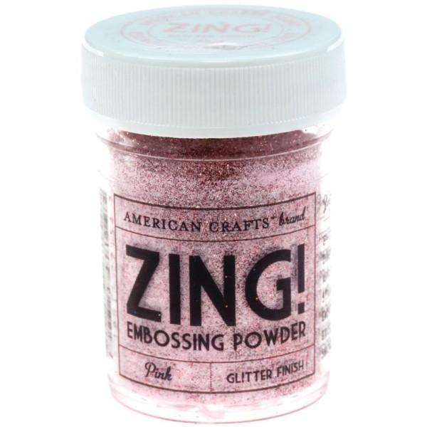 27154 Glitter Pink Zing! Пудра для эмбоссинга с глиттером American Crafts розовая