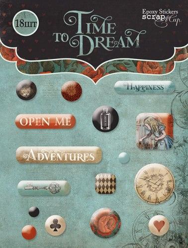 SM3000015 Набор эпоксидных наклеек Time to Dream(eng.) 16 шт.
