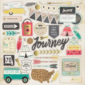 Чипборд Journey от Crate Paper с золотым фольгированием 683751