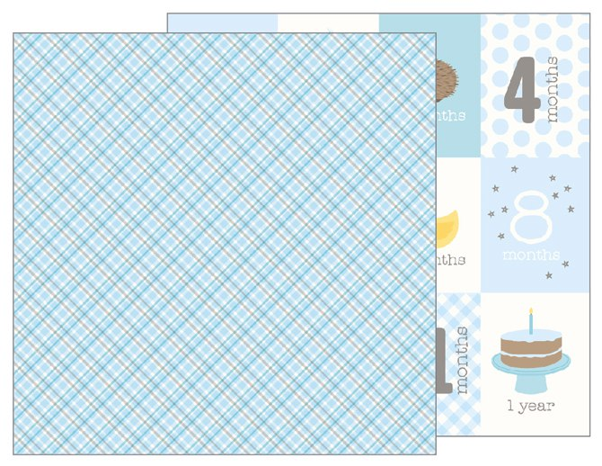 "Лист Baby Boy Plaid ""Lullaby"" от Pebbles 733503"