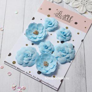 МГ0001 Цветы ручной работы из ткани голубые