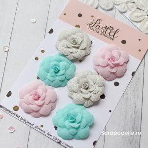 БМР0001 Цветы ручной работы из ткани розовые, мятные и серые