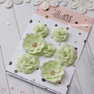 МЗ0001 Цветы ручной работы из ткани салатовые